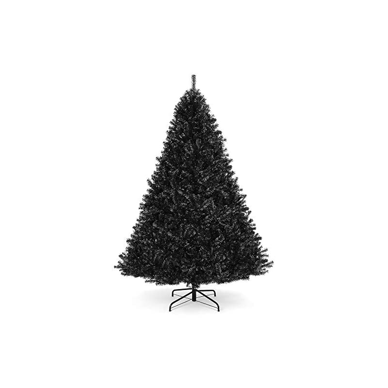 silk flower arrangements best choice products 6ft artificial full black christmas tree seasonal holiday decoration for home, office, party decoration w/ 1,477 pvc branch tips, metal hinges, foldable base