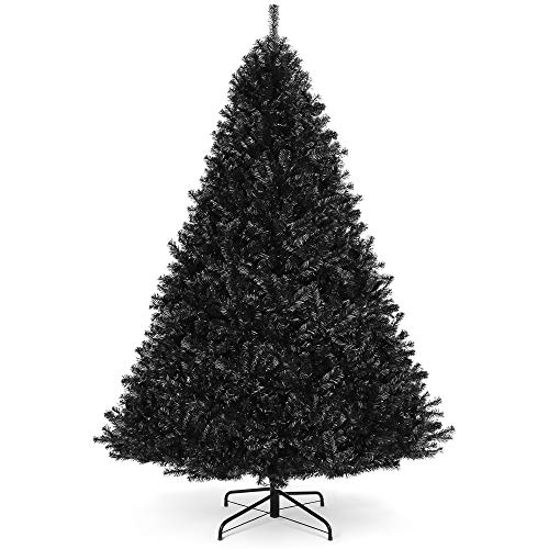 Best Choice Products 6ft Artificial Full Black Christmas Tree Seasonal Holiday Decoration for Home, Office, Party Decoration w/ 1,477 PVC Branch Tips, Metal Hinges, Foldable Base