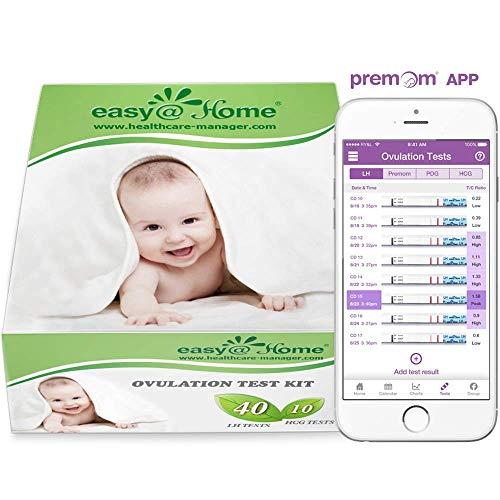 Easy@Home Ovulationstest Schwangerschaftstest frühtest - Empfidlich Kinderwunsch Fruchtbarkeitstests für Eisprung 25 mIU/ml und Schwangerschaftstests 10 mIU/ml mit optimaler Sensitivität (40LH+10HCG)
