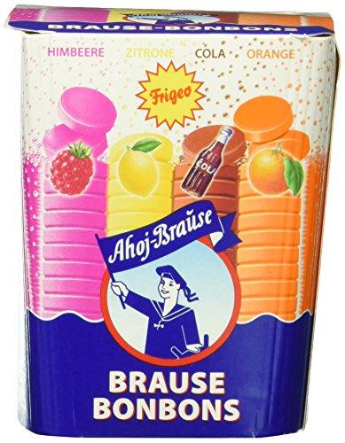 Frigeo Ahoj-Brause, Die Klassiker: runde Brause-Bonbons in den vier Geschmacksrichtungen Zitrone, Orange, Himbeere und Cola, 1-er Pack (1 x 125 g)