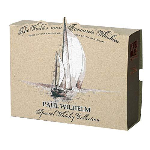 Herz & Heim® Peated Malts of Distinctions Whisky Probierpaket (4 x 0.05 l) in personalisierter Segelschiff Verpackung