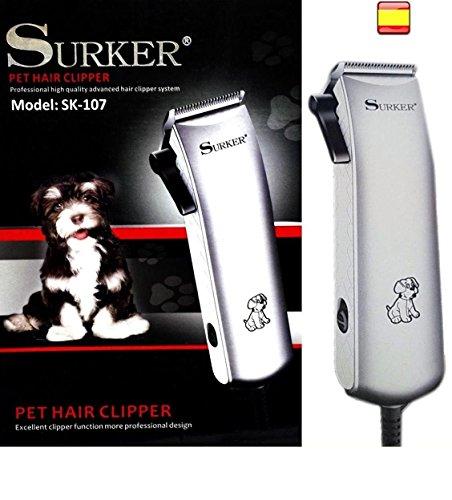 Surker SK-107 Tondeuse professionnelle pour chiens chats et animaux domestiques, avec câble, lames en acier inoxydable raffiné, moteur de haute puissance, avec accessoires