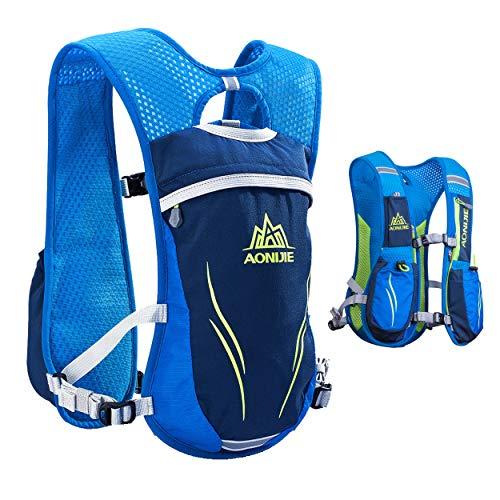 Azarxis - Mochila de Hidratación 5.5L Trail Running Ligera Chaleco Ciclismo con Bidon de Agua para Senderismo Escalada Corriente (Azul - Sólo un Chaleco)