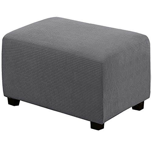 Stretch Storage Ottoman Slipcover Furniture Protector Ottoman Covers 1-Piece Spandex Elastic Rectangle Footstool Sofa Cover for Pets Machine Washable(Ottoman X-Large,Gray)