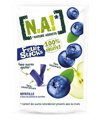 N.A! Nature Addicts - Sachet de Fruit Sticks Myrtille 40g - 100% Issu de Fruits - Sans Sucres Ajoutés, Sans Édulcorants ni Conservateurs - Sachet Refermable à Emmener Partout - Lot de 1