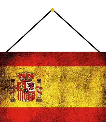 Buddel-Bini Versand - Cartel decorativo (metal, 20 x 30 cm, con cordel), diseño de bandera de España