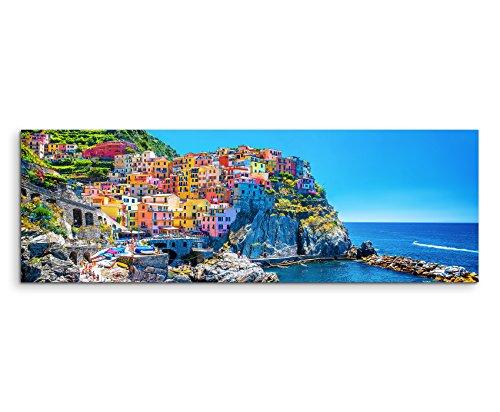 Sinus Art Wandbild 150x50cm Landschaftsfotografie – Farbenfroher Hafen, Cinque Terre, Italien auf Leinwand für Wohnzimmer, Büro, Schlafzimmer, Ferienwohnung u.v.m. Gestochen scharf in Top Qualität