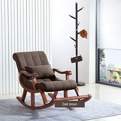 WANGYG Schaukelstühle Massivholz Schaukelstuhl Nordic Holz Schaukelstuhl Lazy Leisure Chair Casual Adult Schaukelstuhl Home Schaukelstuhl Dunkelbraun