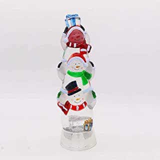 Wondise Color Changing Water Snow Globe Lantern Battery Operated with 6 Hour Timer, 3-Tiers Swirling Glitter Snow Globe Lighted Thanksgiving Christmas Decoration(12.5 Inch, Christmas Snowman)