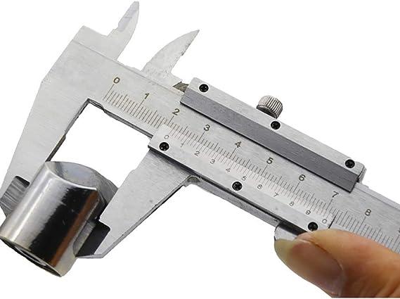 micr/ómetro de calibre Vernier de acero al carbono de alta precisi/ón de 150 mm para mediciones exteriores//interiores//profundidad en caja de almacenamiento Calibrador Vernier