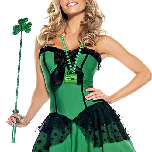 BESTOYARD St.Patrick's Halsketten mit Glasschale Grüne Shamrock Perlen Halskette für St. Patrick's Day Hochzeit Geburtstag Kostüme Party Favors Geschenke 4 Stck