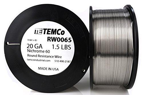 TEMCo Nichrome 60 series wire 20 Gauge Resistance AWG ga