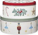 Kitchen Craft The Nutcracker Collection Christmas Cake Storage Tins, Acciaio Inossidabile, Multi-Colour Co, Set of 2