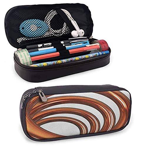 Estuche de lápiz de cuero abstracto para bolígrafo Bobina de hélice Tubo espiral curvo Forma arremolinada sobre fondo blanco Imprimir Pequeño lindo
