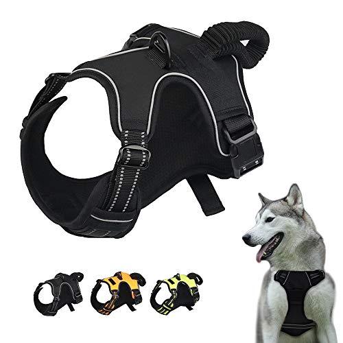 Eastlion Hundegeschirr mit 2 Ringe Elastischer Griff-No Pull Ausbruchsicher Einstellbar Reflektierend Brustgeschirre Hund für Kleine Mittlere und Große Hunde,Schwarz L