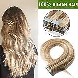 14'(35cm) Extensiones Adhesivas de Cabello Natural Sin Clip [2g*20pcs] #12/613 Marrón Dorado/Blanqueador Rubio 100% Remy Pelo Humano Tape in Hair Extensions (40g)