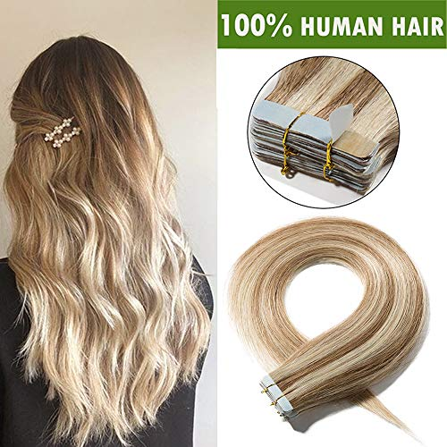 SEGO Tape In Remy Hair Extension Adhesive Cheveux Naturel - 30 CM 12P613#Brun Doré & Blond Blanchi [2g X 20 Bandes] - Vrai Cheveux a Froid Invisible