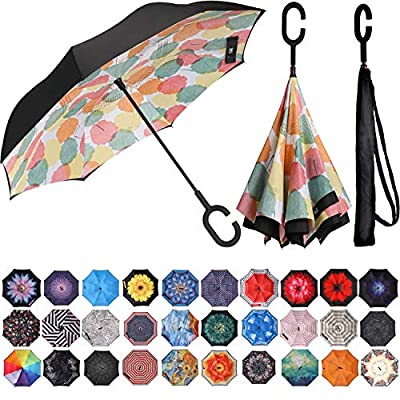 BAGAIL Double Layer Inverted Umbrella Reverse Folding Umbrellas Windproof UV Protection Big Straight Umbrella for Car Rain Outdoor with C-Shaped Handle (Leaf)
