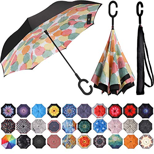 BAGAIL Double Layer Inverted Umbrella Reverse Folding Umbrellas...