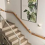 Pasamanos para escaleras interiores o peldaños al aire libre, soportes pared para pasillos domésticos, mango madera natural, barandillas antideslizantes seguridad para loft para ancianos y niños