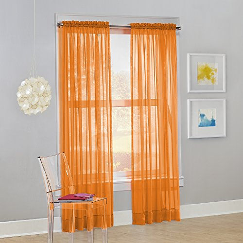 No. 918 Calypso Sheer Voile Rod Pocket Curtain Panel, 59' x 84', Orange, 1 Panel