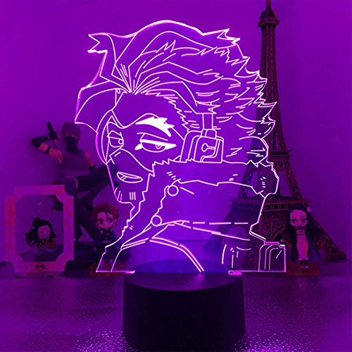 Baby Spielzeug My Academia Hawks Luz nocturna para niños 3D LED Anime Lámpara Boku No Hero Academia Lámpara de mesa Visual para Niños Regalo Control Remoto 2