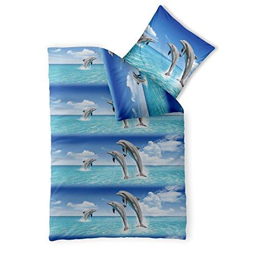 CelinaTex Fashion Fun Kinderbettwäsche 155 x 220 cm 2teilig Baumwolle Bettbezug Delfin blau weiß