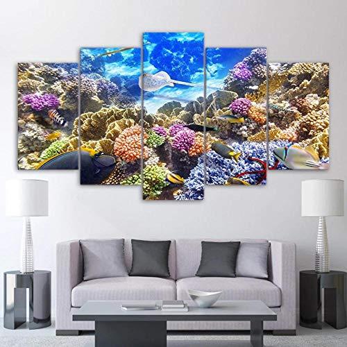45Tdfc 5 Panel Wall Art Coral y Coloridos Peces Tropicales submarinos Pintando la impresión de la Pintura en Lienzo Pictures para decoración de casa Pieza de Regalo de Firstwallart