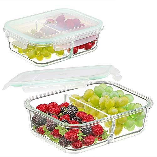 Contenants Préparation Repas Verre 2 Compartiments - Contenants Stockage d'aliments avec Couvercle - Boîte à Bento Boîte à Déjeûner Verre - Contenants à Repas Divisés - Contenants à Aliments Verre