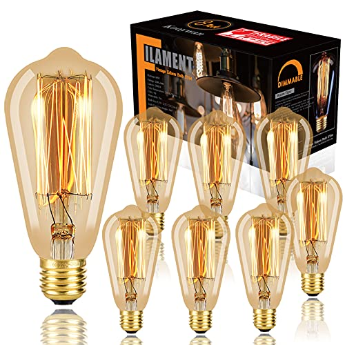 Lampadina Edison da 8 pezzi Lampadine stile vintage antico dimmerabile Ambra calda 60W Base E27 per applique da parete Retro apparecchio di Kooywan