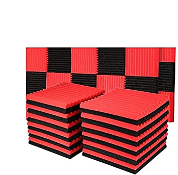 YDHTDLHC 48 Pack Acoustic Panels Studio Foam Wedges Fireproof Soundproof Padding Wall Panels 1  X 12  X 12   Black&Red  made in China