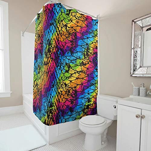 Wasserdicht Duschvorhänge Regenbogen Krokodil Schlange Haut Streifen Druck Neuheit Badezimmervorhang mit Plastikringschnallen Badezimmerzubehör white 180x200cm