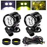 YnGia Faros antiniebla LED para motocicleta con arnés de cableado, 2 focos de conducción de motocicleta de 60W, 12V 24V con lente amarilla para scooters, automóviles, camiones, SUV, barcos