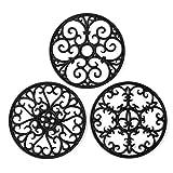 Silicone Trivet Mat - Hot Pot Holder Hot Pads for Table & Countertop - Teapot Trivet Kitchen Trivets - Non-Slip & Heat Resistant Modern Kitchen Hot Pads for Pots & Hot Dish Black Trivet Set of 3