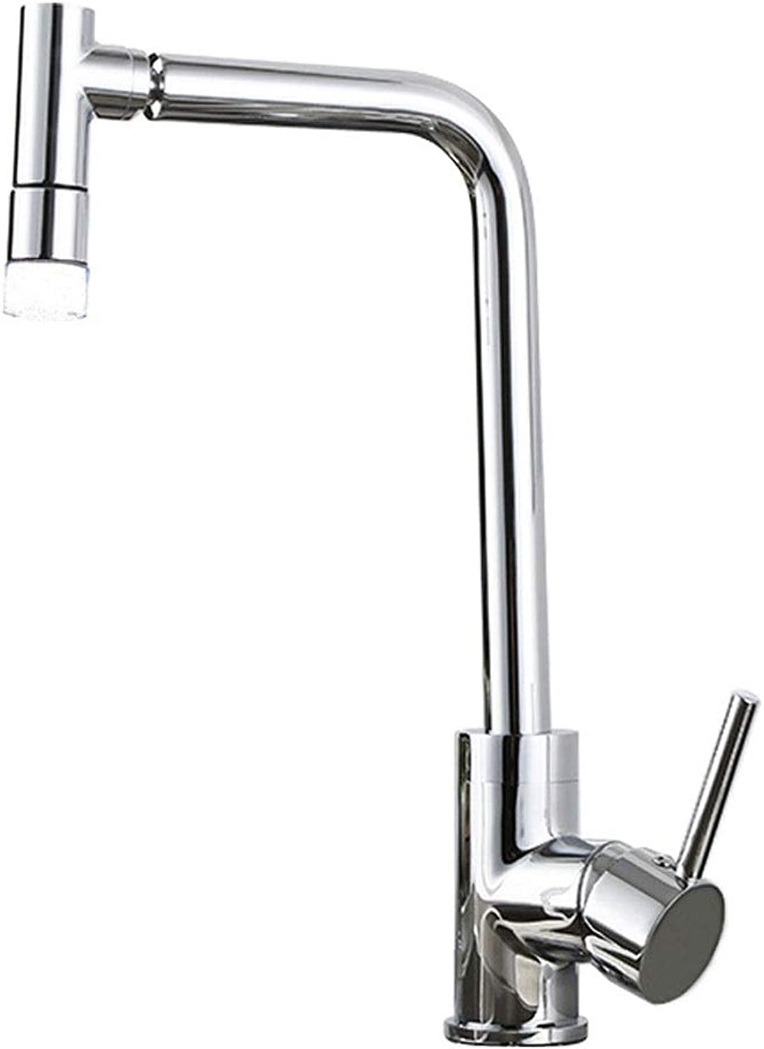 Kitchen Sink Faucet Single Handle Copper, Single Hole Cold and Hot Mixed Water Can redate, LED Temperature Control Discoloration, Strong and Durable(Bubbles Water, Shower Water)