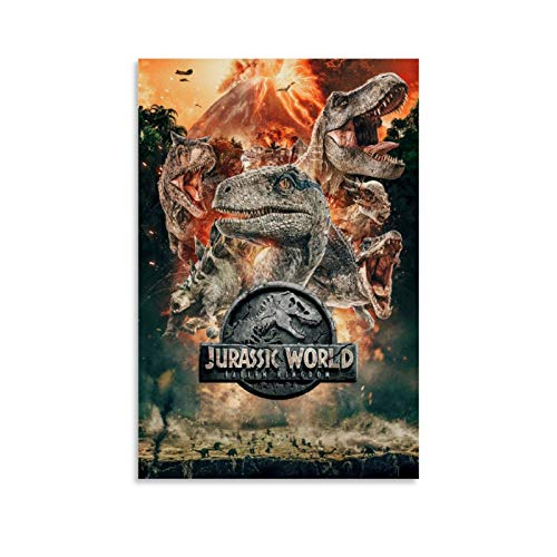 SSKJTC - Poster da parete in tela da bagno, decorazione da parete, motivo Jurassic World 2 Fallen Kingdom, 20 x 30 cm
