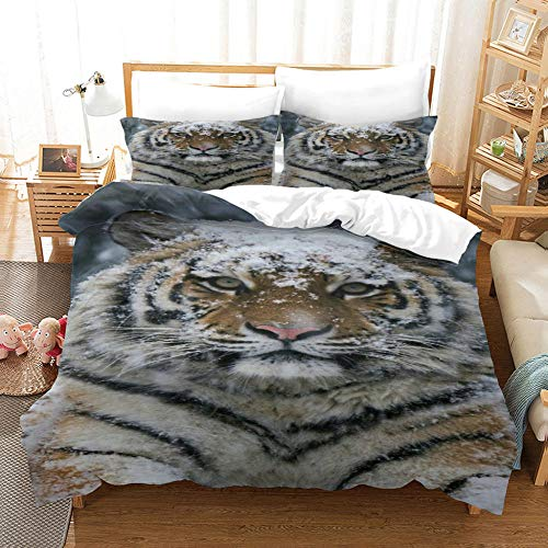Animal Series Duvet Cover Tiger In The Snow Soft Microfiber Bedding Three Piece With Pillow Case Unisex Quilt Coverwith Zipper Closure,Single Bed 140*200Cm