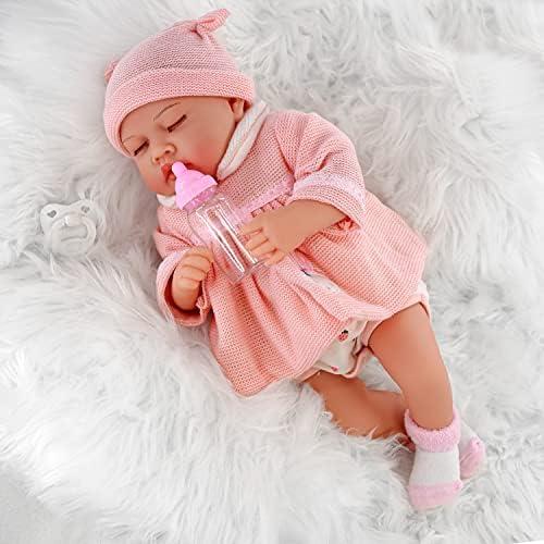 "The Magic Toy Shop 20"" Realistic Reborn Handmade Sleeping or Open Eyes Baby Girl / Boy Doll with Dummy & Feeding Bottle (ETHNIC REBORN PINK)"
