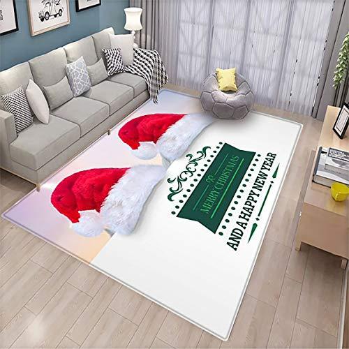 Felpudo para interior con mensaje de Navidad en inglés 'Merry Christmas Message Against Cute Christmas Village Under Crescent Moon', para sala de estar, 170 x 260 cm