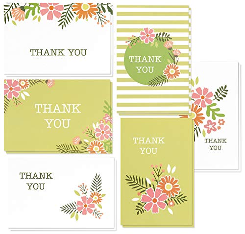 Thank You Cards Bulk - 48-Pack Thank You Card, 6 Vintage Floral Designs, Thank You Notes, Envelopes Included, 4 x 6 Inches