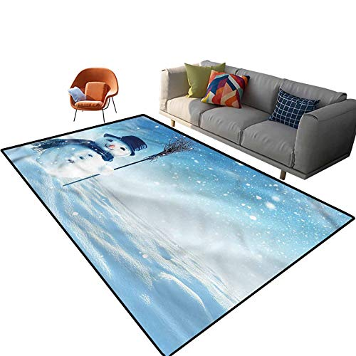 Indoor Room Snowman Area Rugs,4'x 6',Wintry Land Snowy Cold Floor Rectangle Rug with Non Slip Backing for Entryway Living Room Bedroom Kids Nursery Sofa Home Decor
