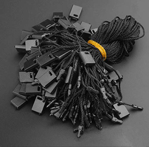 950pcs Hang Tag Polyester String Snap Lock Pin Loop Fastener Hook Ties Easy and Fast to Attach, 7 Inch Long Block Black