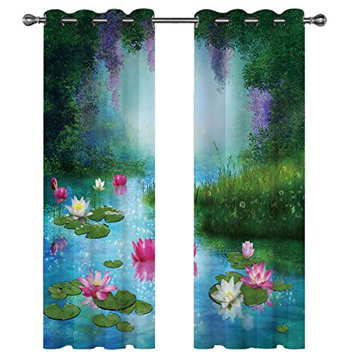 SSHHJ Digital Printed Blackout Curtains Waterproof Curtain With 3D Effect That Can Be Reused Fashion Home Creative Decoration 2 Pieces