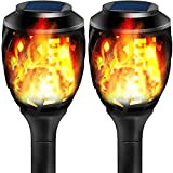 Grand patio Solar Lights Upgraded Waterproof Flickering Flames Security Torch Light Outdoor Solar Spotlights Landscape Decoration Lighting Dusk to Dawn,Pack of 2