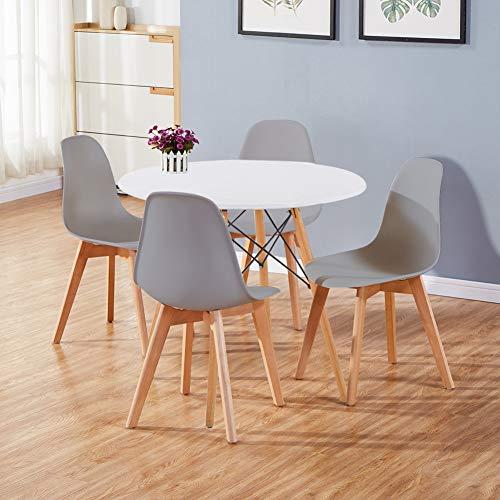 GOLDFAN Runder Esstisch mit 4 stühlen Moderner Esstisch Rund Matt Lackierter Küchen 4er Set Esszimmerstuhl für Esszimmer Büro Wohnzimmer, Grau