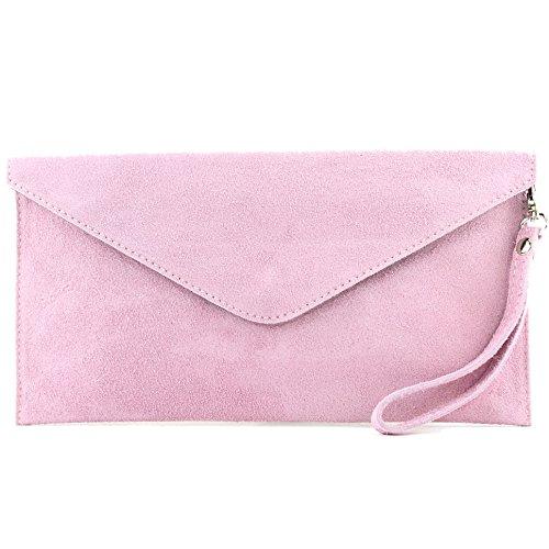 modamoda de - T106 - ital Clutch/Abendtasche aus Wildleder, Farbe:Rosa