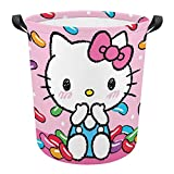 Laundry Baskets Hello Kitty with Colorful Candy Collapsible Waterproof Cotton Linen Foldable Laundry Hampers Storage Bin Organizer Baskets with Handles