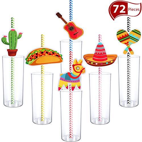 72 Piezas Pajitas de Papel de Fiesta de Cinco De Mayo Pajitas Mexicanas para Fiesta Taco Divertida, Foto Props de Evento Luau, Festivales Carnavales, Boda, Favores de Fiesta de Cumpleaños