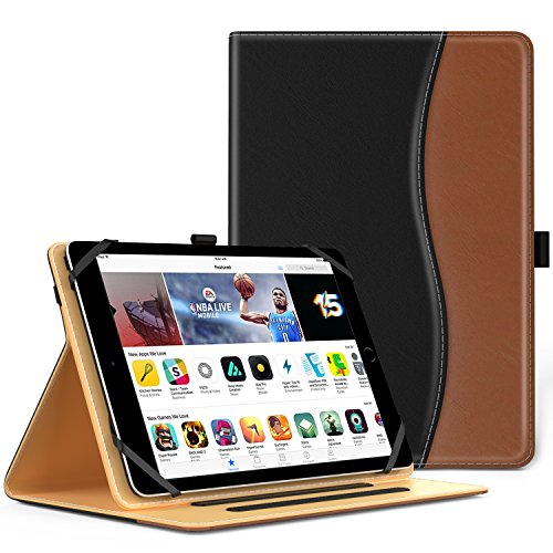 MoKo Hülle für 9-10 Zoll Tablet - Kunstleder Ständer Tasche Schutzhülle Smart Case Cover für ipad 2/3/4, ipad 9.7 2017, Google Nexus 9 8.9, Lenovo Tab 2 A10-70, iPad Air, Schwarz/Braun