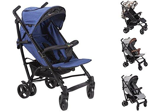 Clamaro \'CityGO\' Leichter 8 kg kompakt Buggy mit Liegefunktion, klein zusammenklappbar, flüsterleise Reifen, Rückenlehne mit Liegeposition, Sonnendach mit Sichtfenster - Blau/Schwarz